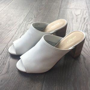 Aldo White Leather Mules